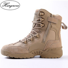 Esdy Winter Men's Desert Camouflage Genuine Leather Army Combat Boots Men High Military Tactical Hiking Boots Coturnos Masculino цена