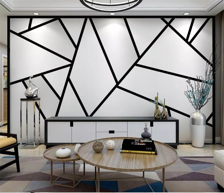 dinding hitam putih kamar line geometri segitiga gambar lukisan simple abstrak dekorasi living sederhana mural keren study geometry stereo ruang