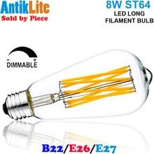 60W/60 W Incandescent Equal E26/E27 Medium Edison Screw Base (ES) ST64 Teardrop Shaped 8 Watt/8W Long LED Filament Light Bulb