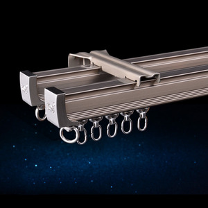 Image 5 - Алюминиевый сплав карниз для штор, Потолочная боковая установка, один прочный тройной аксессуар, размер по заказу