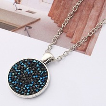 Women Ladies Long Chain Necklace Fashion Jewelry Full Crystal Round Cabochon Pendant 7 Colors Length 60cm