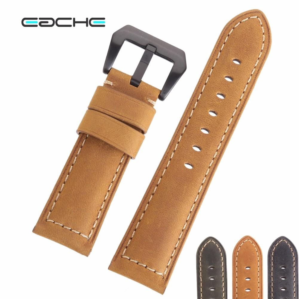 EACHE Brown Grey Green Yellow Genuine Leather Crazy Horse Leather Watchband Men Women22mm 24mm стоимость