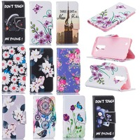 New Fashion Flowers Tree Bear Wallet Flip Stand PU Leather Case For LG K7 LG K8