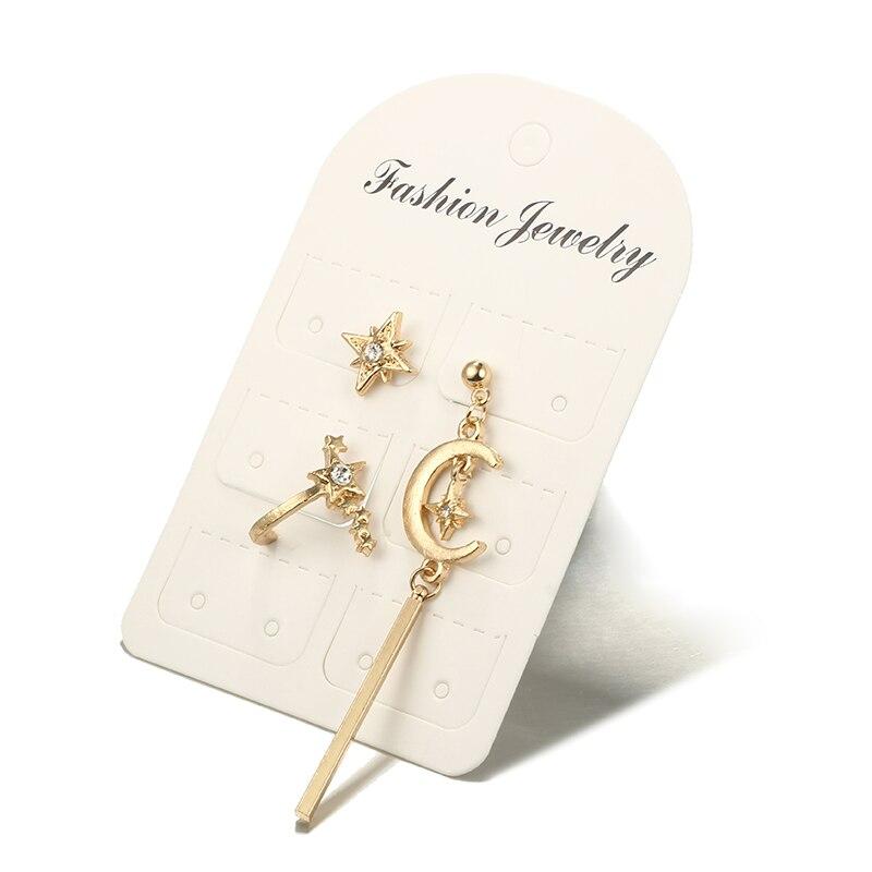 Tocona 3pcs/set Boho Star Moon Rhinestone Crystal Studs Earrings Set for Women Girl Gold Color Vintage Punk Metal Jewelry 2965
