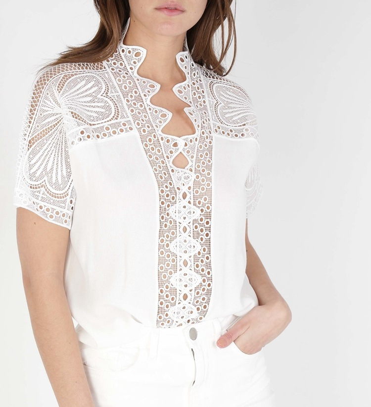 Viscose 100 White Women V Neck Hollow Out Lace Patchwork Top Bopstyle 2019 Stylish Ladies Blouse