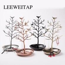 Iron shelves, jewelry storage,Desktop iron art ornaments, bird tree storage rack, family decoration ornaments