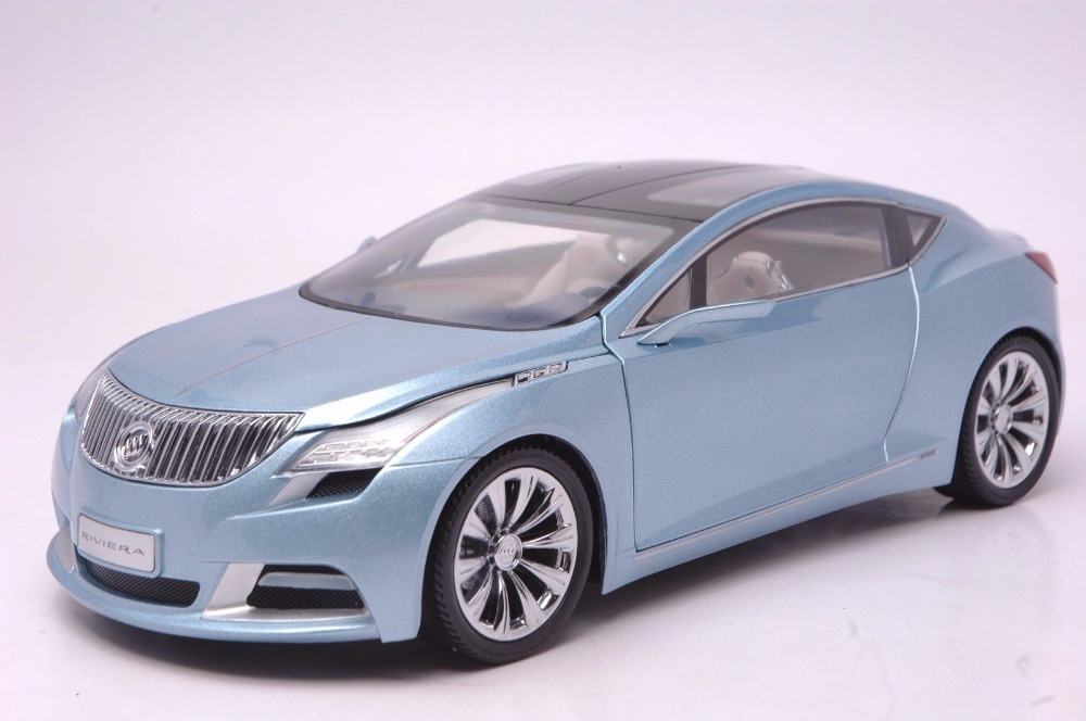 1:18 Diecast Model for GM Buick Riviera 2009 Blue Concept Alloy Toy Car Miniature Collection Gift