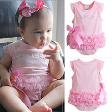 Infant Kids Baby Girls Princess Clothing Pink Lace Bow Rompers Jumpsuit Clothing Outfits Set