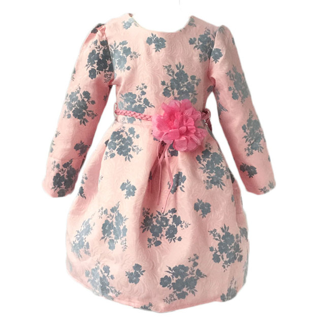 New Arrival Girl Print Dress and Flower Belt 2 Pieces Princess Dress Brand of High Quality Children's Clothing Perfect Apparel