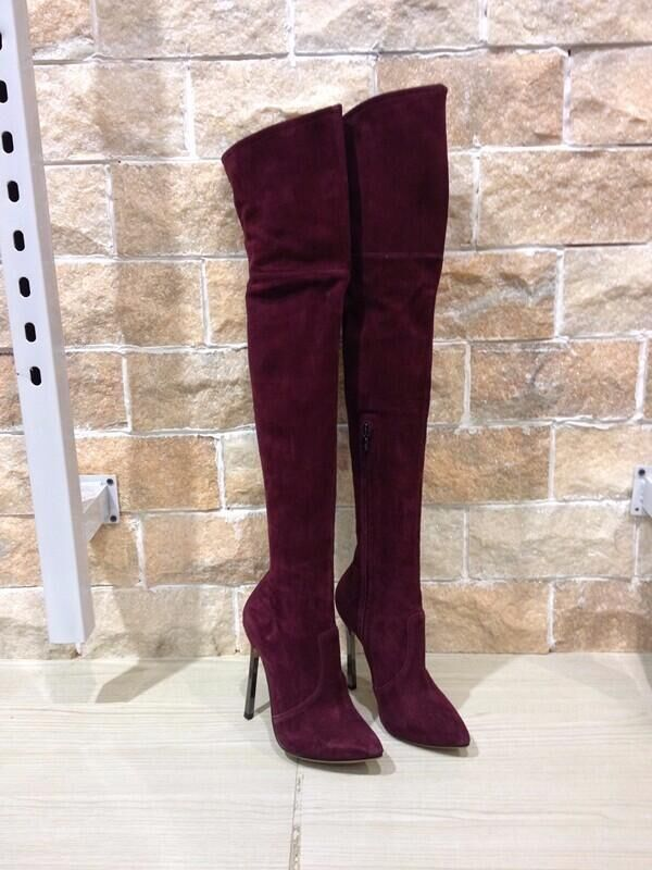 Hot Sale 120MM Blade Stretch Suede Boots Pointed Toe Over-the-knee Blade Boots High Heel Women Fashion Long Tight High Boots