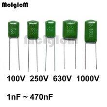 MCIGICM طبقة بوليستر رقيقة مكثف 2A102J 2J102J 2A332J 3A332J 2A562J 2A223J 2A104J 2A154J 2A474J 100V 630V 1000V 1000pF 100nF