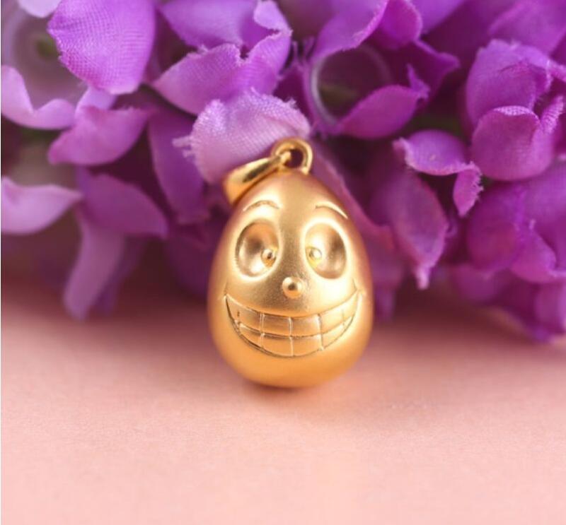 24k Yellow Gold Pendant 3D Happy Smile Egg Pendant