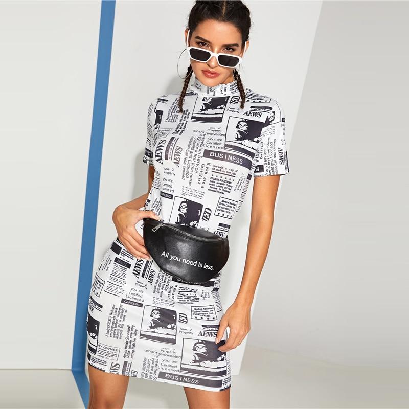 Newspaper Print Skinny Stylish Stand Collar Women Dress