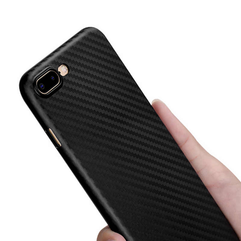 Carbon Fiber Case untuk iPhone X Iphone 7 8 Plus Tipis Slim Kembali Kasus Mewah untuk iPhone 6S 6 Plus iPhone 8 silikon Keras Hitam