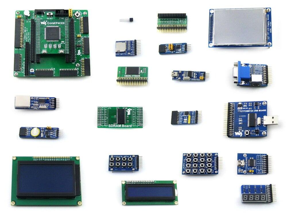 Waveshare EP4CE6-C EP4CE6E22C8N ALTERA Cyclone IV FPGA Development Board + 19 Accessory Modules Kits = OpenEP4CE6-C Package B altera cyclone board ep4ce10 ep4ce10f17c8n altera cyclone iv fpga development board 18 accessory kits openep4ce10 c package b