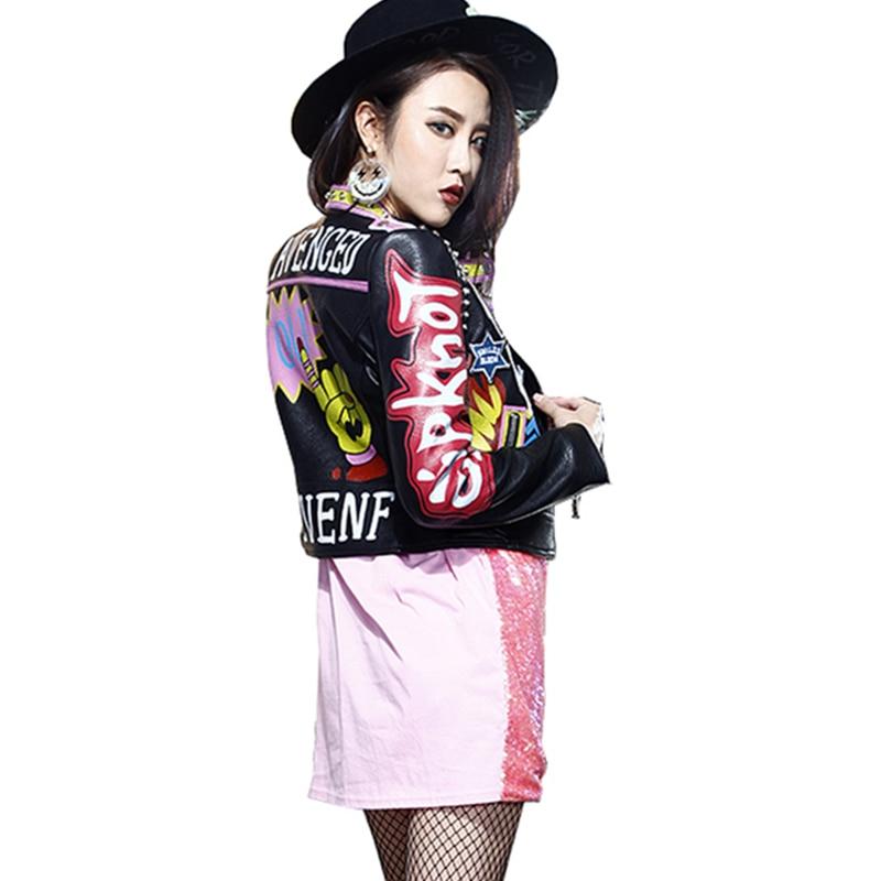 Veste Moto Imprimé Épaulette Manteau Zipper Automne Cuir Femmes Lady En Femelle Wq176 Harajuku Pu Rivet Black Survêtement zxqYqE