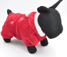Hot Sale Cotton Winter Red Dog Pet Clothes Christmas Warm Dog Outwear Coat with Hat Dog Clotheing Wholesale and High Quality