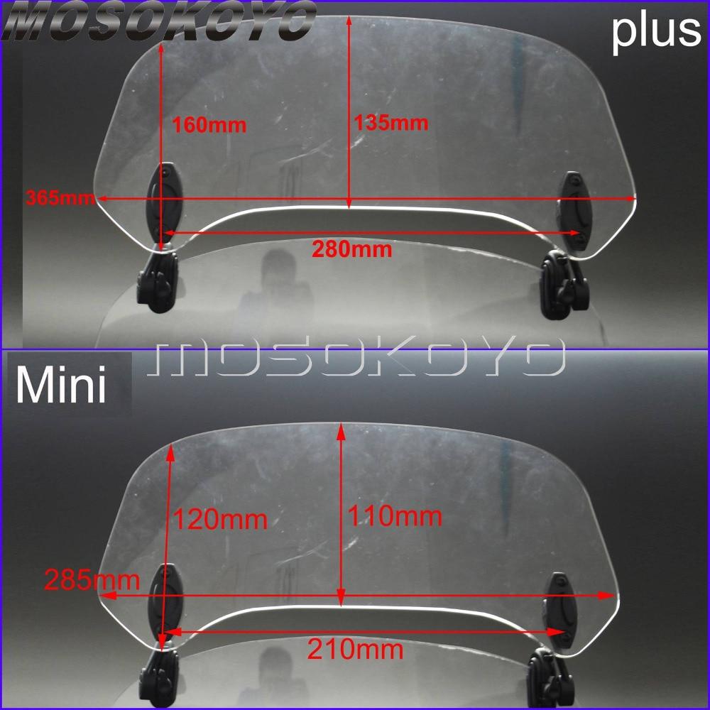 Transparent Moto Augmenté Réglable Vent Écran Pare-Brise Spoiler déflecteur d'air pour Honda BMW F800 R1200GS KAWASAKI YAMAHA - 6