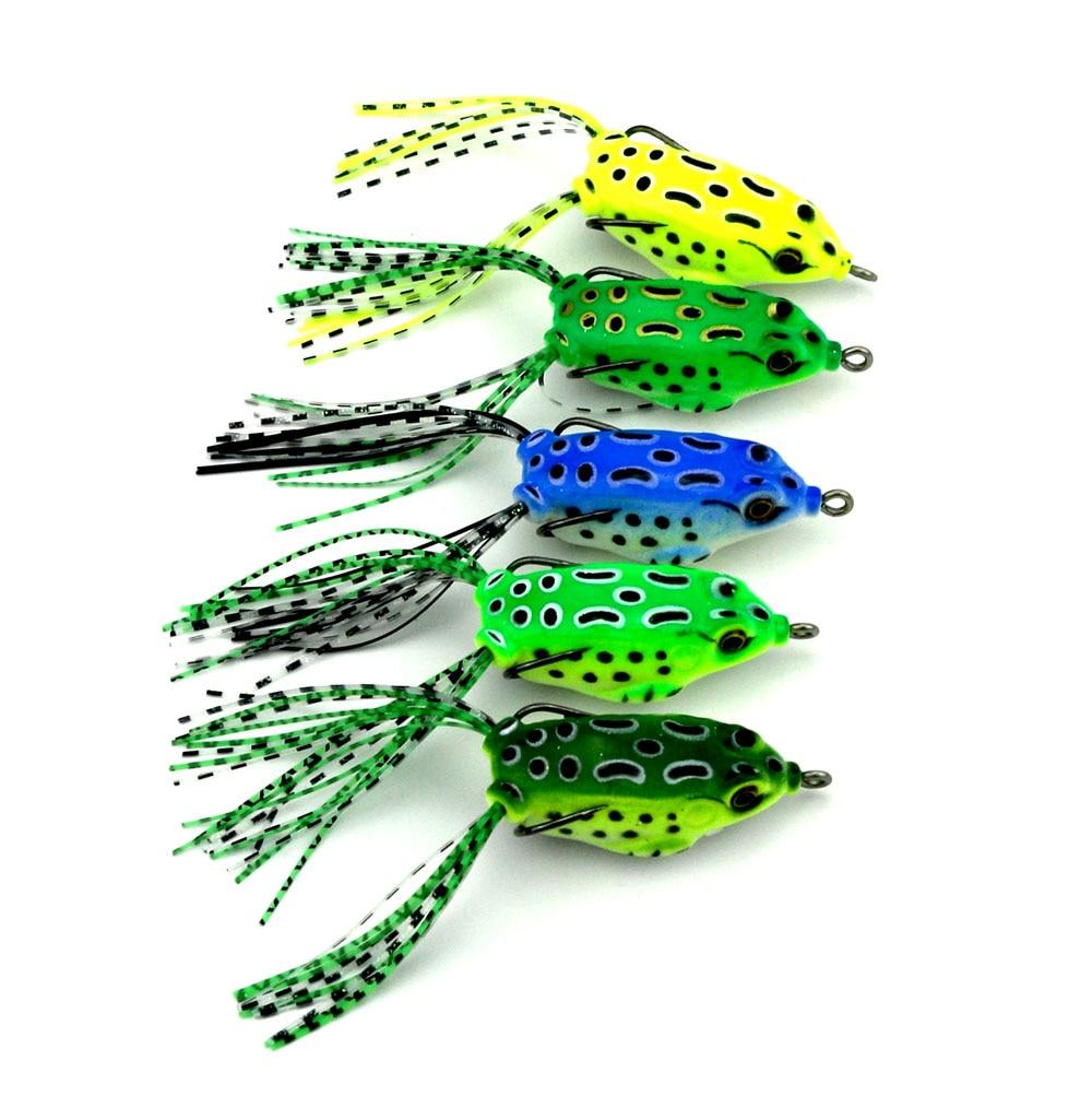 5 piezas de señuelos de pesca con ranas calientes señuelos blandos - Pescando