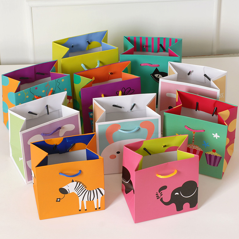 Cute Gift Bags For Kids Small Paper Bags,Kawaii Animal G,Idea For  Birthday,shopping,storage Bag