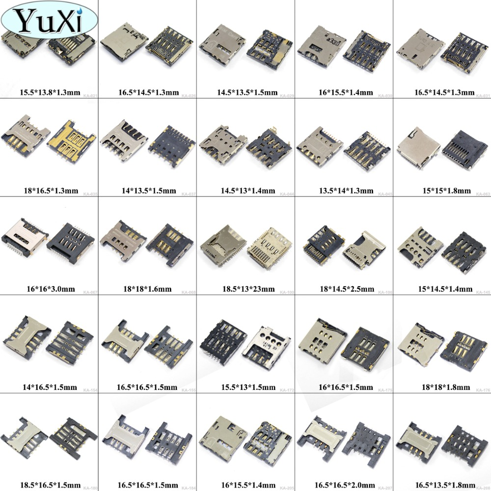 YuXi 25models For Samsung S2 S3 S4 I8730 for HTC for LG E980 for iphone 4 5 6G sim card reader connector holder contact module