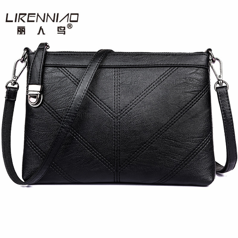 famous designer brand Women Messenger Bag black Leather crossbody bag casual clutch flap high quality sac a main femme marque 2016 new european women handbag geniune leather bag famous brand designer messenger bag female high quality shoulder sac a main
