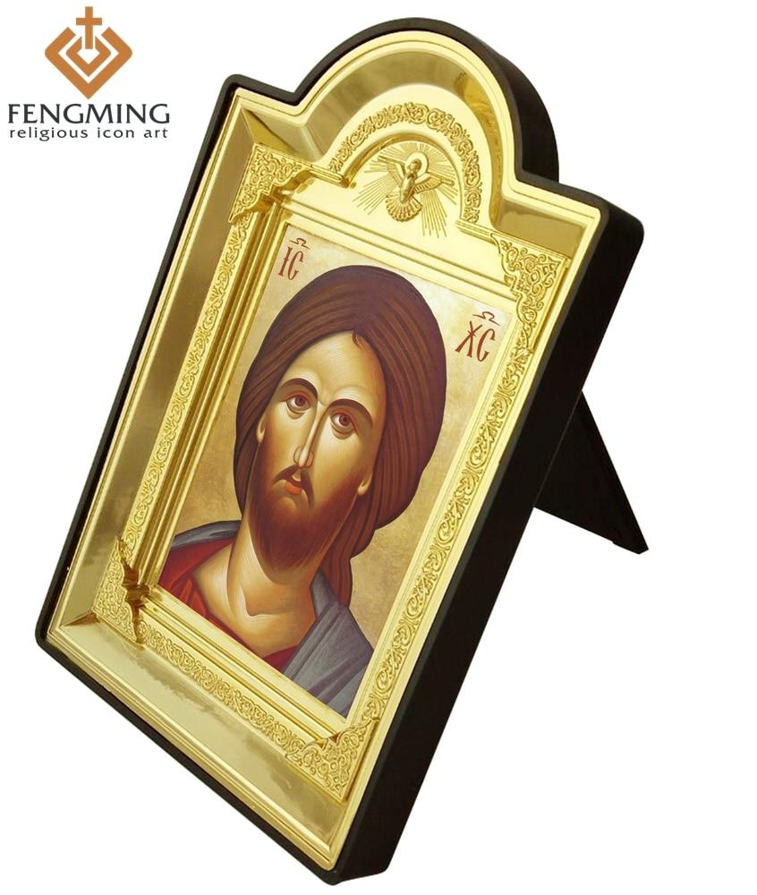2016 marco de fotos manualidades de plástico Cristo Jesús pintura decoración Ruso ortodoxo bautismo regalos suministros religiosos