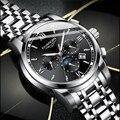 2019 GUANQIN acero negro hombres automáticos relojes mecánicos moda negocios impermeable Luna fase reloj Masculino