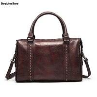 Известный натуральная кожаная сумка для путешествий большой Ёмкость сумка мужская, из бычьей кожи дорожная сумка Для женщин сумка через пл