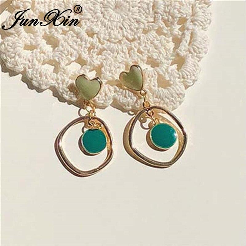 JUNXIN Irregular Heart Drop Earrings For Women Boho Gold Beige White Green Enamel Stone Earrings Korean Wedding Party Jewelry