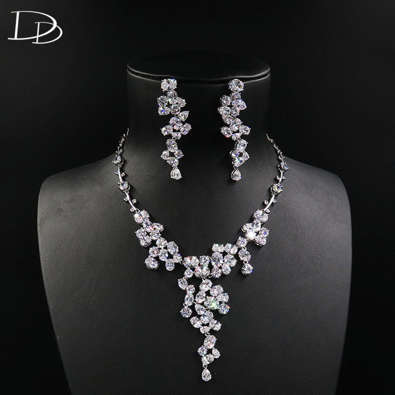 DODO Petal Wedding Jewelry Sets For Women Luxurious AAA Cubic Zircon Long Earrings Necklace Choker Set Fine Bijoux Femme D15289