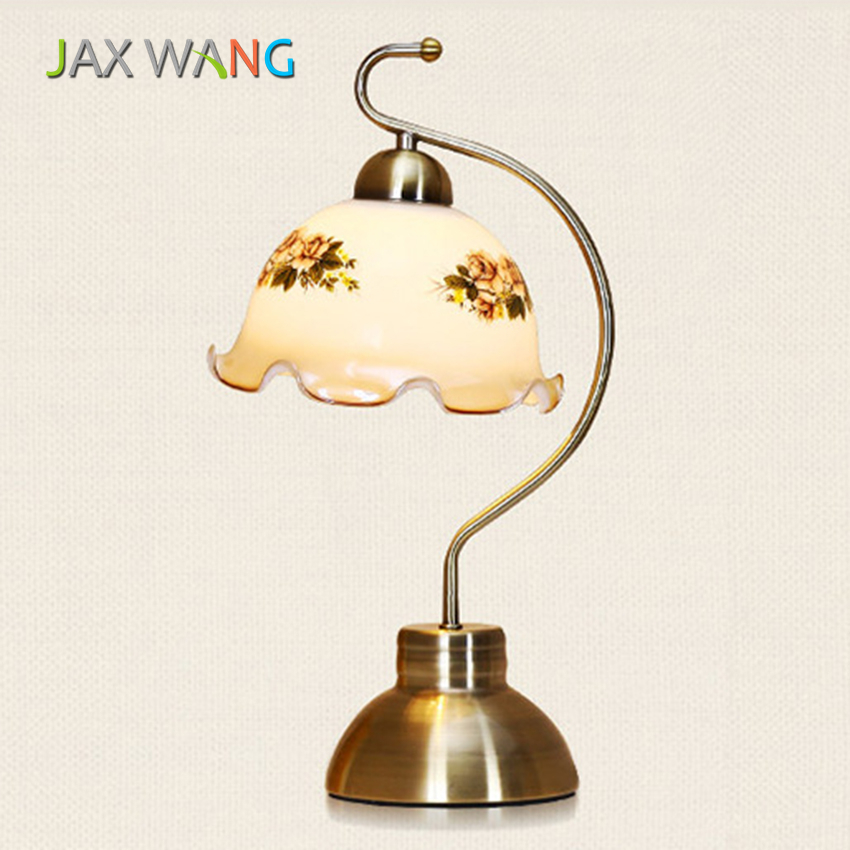 European and American Rural Style Glass Table Lamp for Bedroom Reading Room Study Room Bedside Lighting Home Decoration FixturesEuropean and American Rural Style Glass Table Lamp for Bedroom Reading Room Study Room Bedside Lighting Home Decoration Fixtures