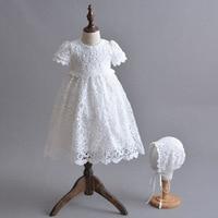 Blanco recién nacido niña princesa vestido weddding Pascua bebé cumpleaños vestido 1 2 años cumpleaños niña vestido de bautizo del bebé