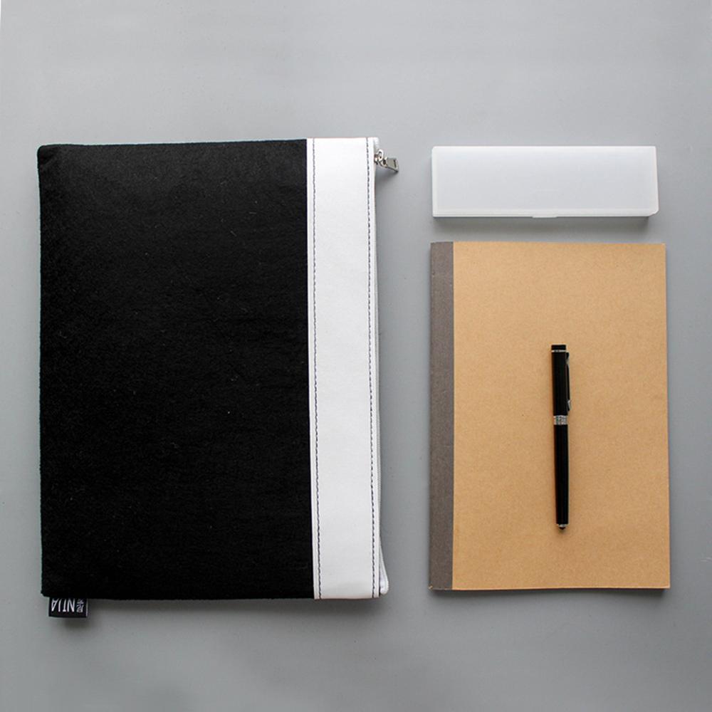 Portable Wool Felt Zipper Document Bag Portfolio A4 File Folder For Office School Stationery Supplies