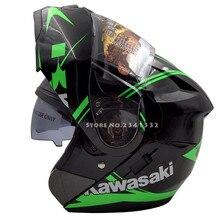Kawasaki modualr casco de la motocicleta tirón encima del casco de la cara llena de doble lente dual viseras racing moto casque capacete casco cascos