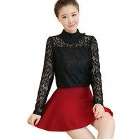2016 Autumn Lace Up Bodysuit Women Shirts Turtleneck High Neck Blouse Elegant Long Sleeve Lace Peplum