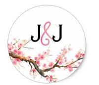 1.5inch Watercolor Cherry Blossoms Circle Stickers