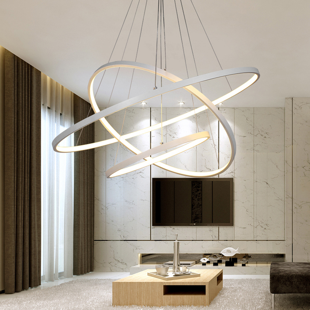 Modern Led Chandelier Ring Lustre Lighting With Remote Control