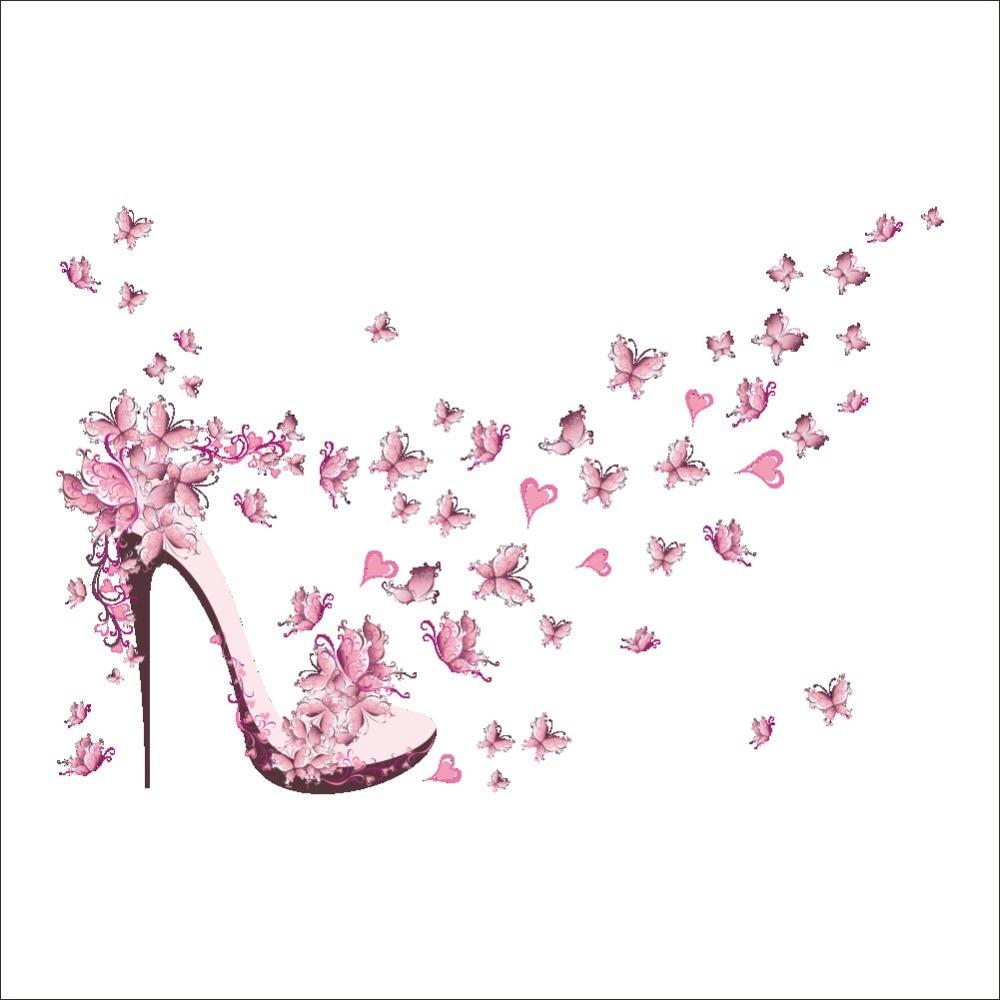 Pink Butterfly High Heels Wall Sticker Wall Decorations ...