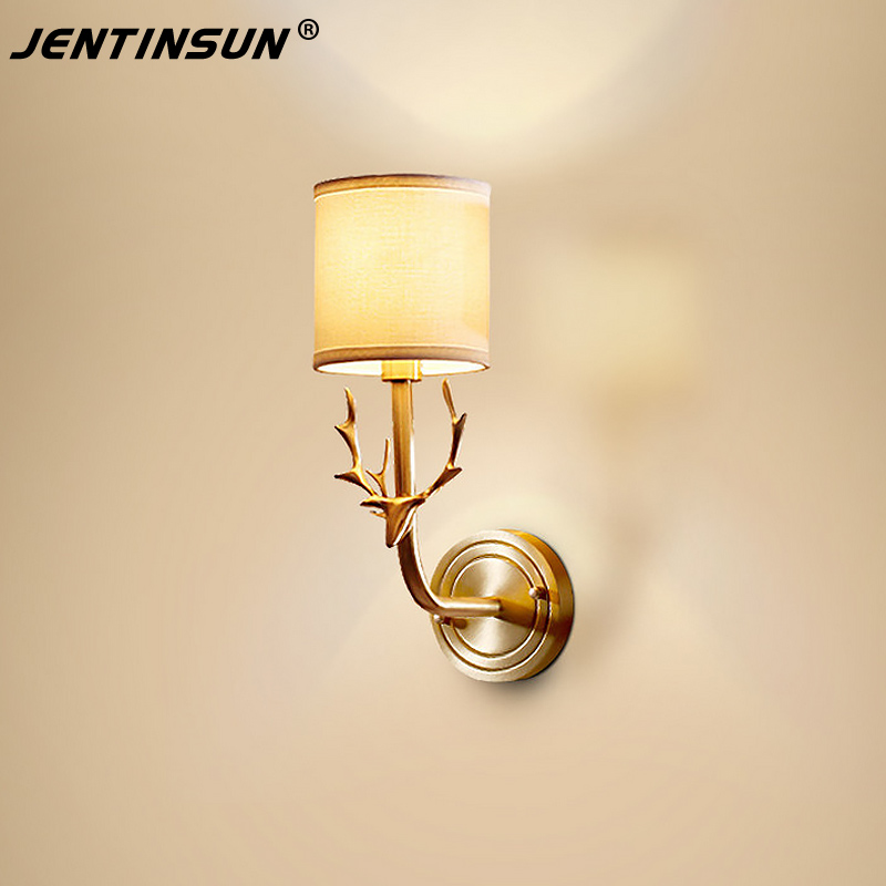 American Creative Style Copper Wall Light Bedroom Bedside Mirror Lamp Sconces for Living Room Hotel Single Head Deer Horn Light contemporary elegant crystal drops wall light living room bedroom bedside lamp mirror hallway light fixtures wall sconces wl194