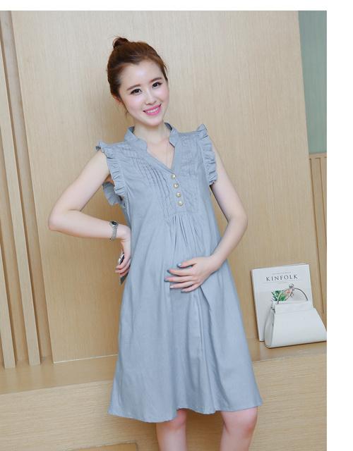 Varejo 1 pc dress para as mulheres grávidas de roupas de maternidade 2016 verão de algodão casuais denim maternidade vestidos de babados vestidos de vestes