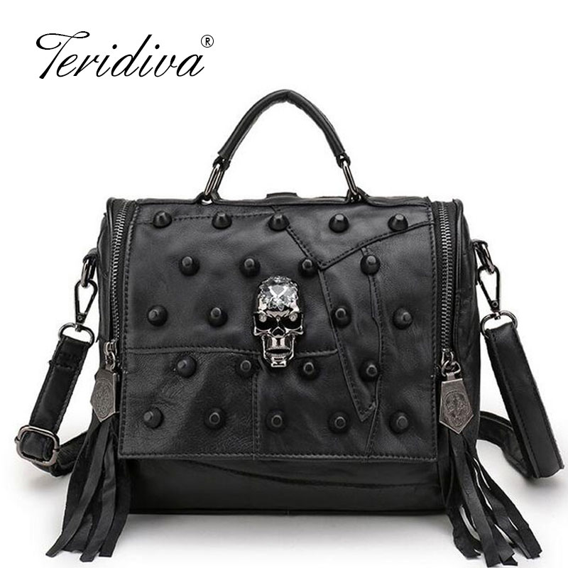 Genuine Leather Bag Women Handbag Vintage Patchwork Sheepskin Shoulder Bags Messenger Bag Rivet Tassel Punk Skull