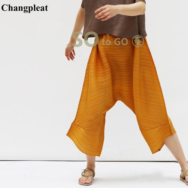 Changpleat 2019 夏新女性パンツ Miyak プリーツファッションデザインルース弾性ウエスト大サイズ固体女性のズボンの潮 P8979  グループ上の レディース衣服 からの パンツ & カプリパンツ の中 1