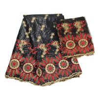 black African Bazin Riche Getzn fabric with Embroidery lace for dress 5Yard Bazin + 2Yard net fabric 25