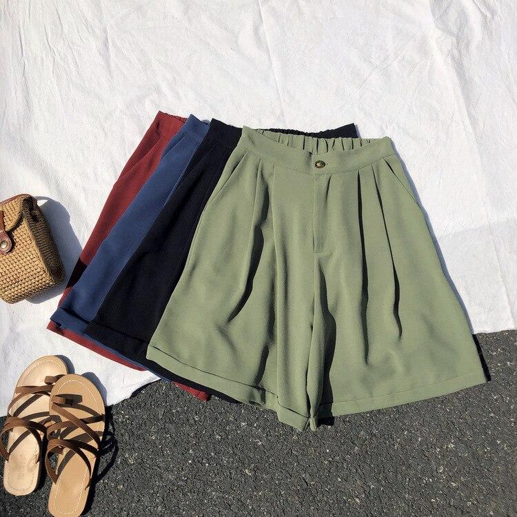 Summer Women Boyfriend Wide Leg   Shorts   High Waist Green Loose Casual Hotpants