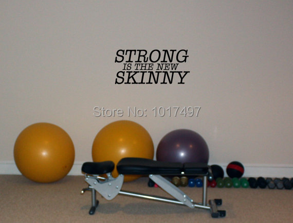 Free shipping home gym wall decor Strong is the New Skinny Home Gym font b Fitness