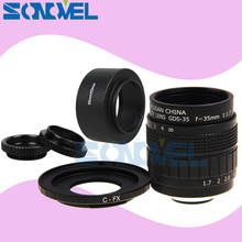 Фуцзянь 35 мм F1.7 объектив для видеонаблюдения + C образное крепление + макро кольцо + бленда объектива для Fuji Fujifilm