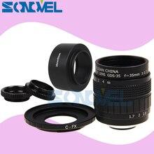 FUJIAN 35mm F1.7 CCTV Movie lens+C Mount +Macro ring+Lens hood for Fuji Fujifilm X E2 X E1 X Pro1 X M1 X A3 X A2 X A1 X T1 C FX