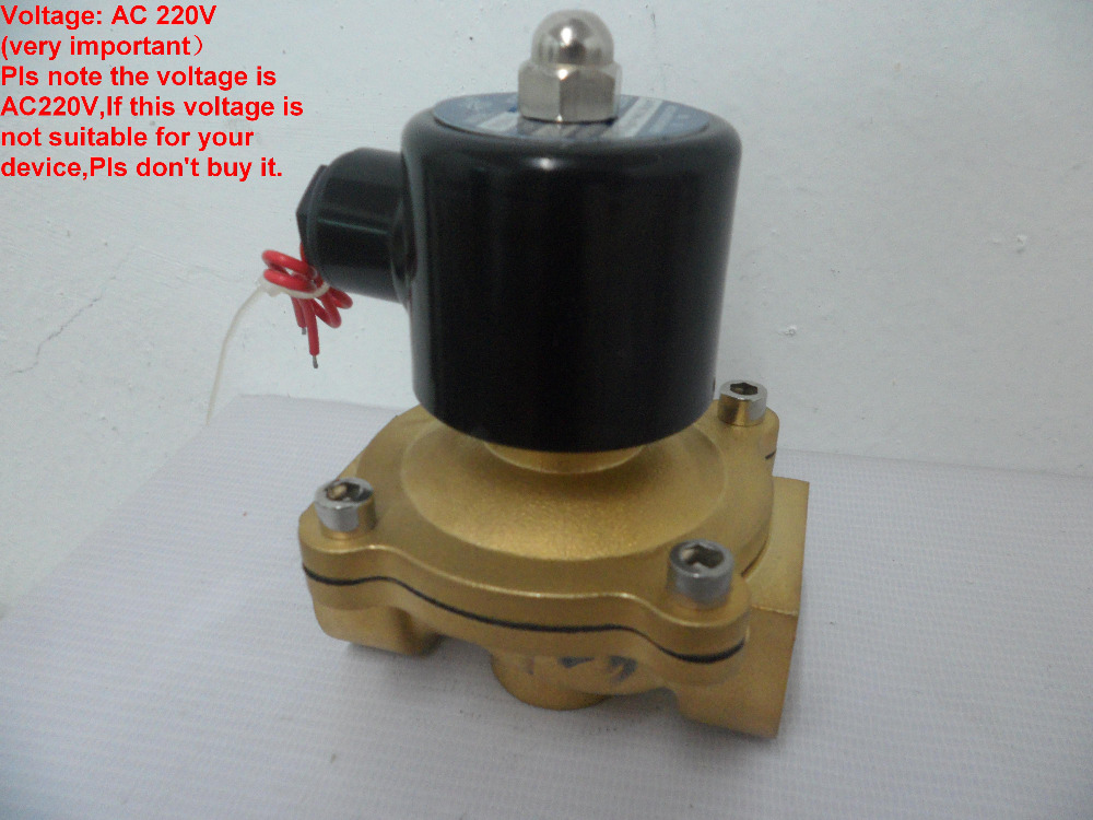 2W250-25 AC220V 1 Inch (DN25) Brass Pneumatic Electric Solenoid Valve N/C 2 Way Free Shipping