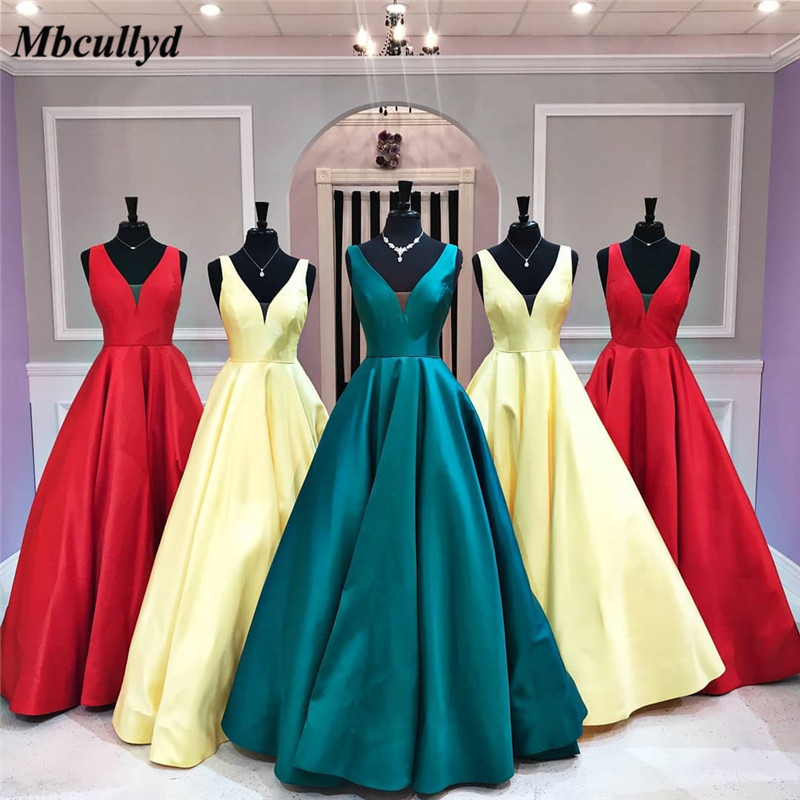 Mbcullyd Strapless Long Prom Dresses 2019 A Line Satin Vestido De Festa With Shining Crystal Pocket Vestidos De Fiesta De Noche